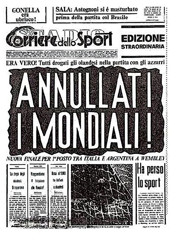 Portada del número falso del Corriere dello Sport, 1978. Obra del colectivo Il Male.