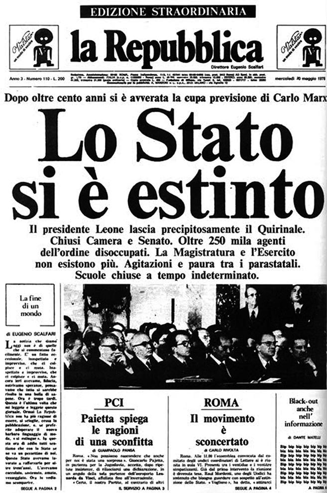 Portada del número falso de La Repubblica, 1978. Obra del colectivo Il Male.