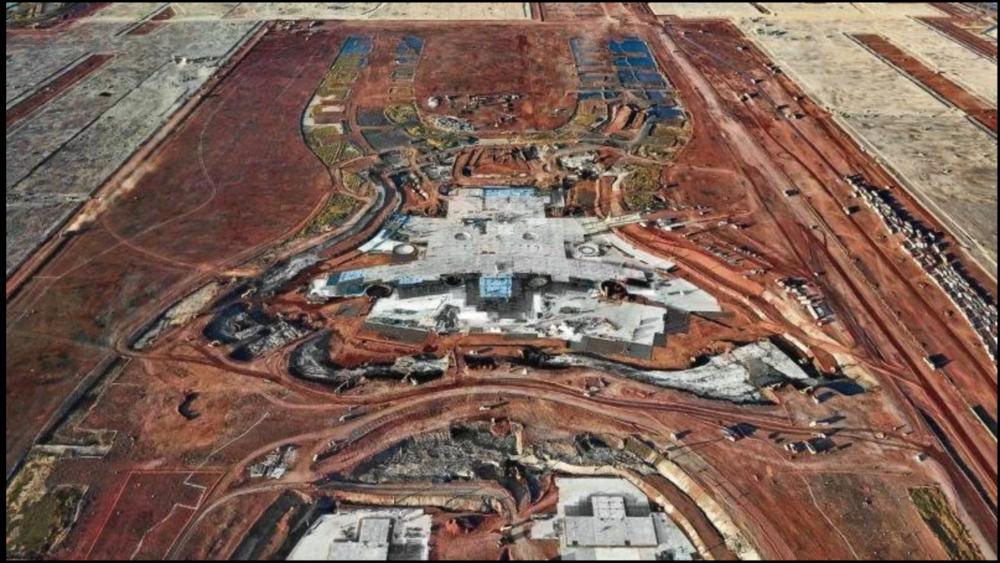 Vista de la construcción del aeropuerto de la CDMX, hoy cancelado