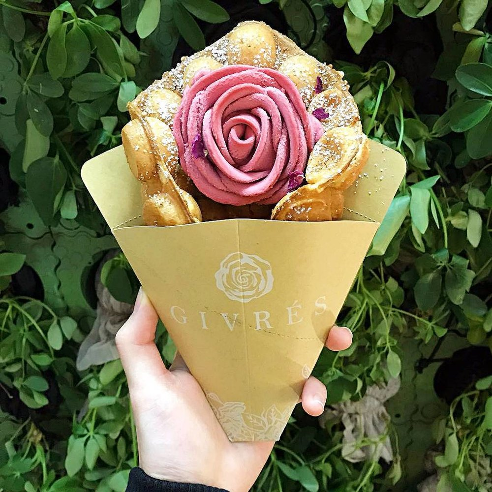 Rose gelato waffle from Givrés.  Image source.