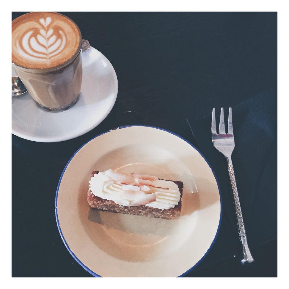 This cortado/hummingbird cake was worth the hike.