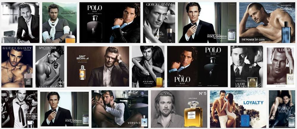 """Literally the top three rows of a google image search for """"Cologne Ad"""". Colognes which apparently will make you shirtless, jacked and surrounded by mostly naked women who want nothing more than to jump your bones. Actually Ewan McGregor's here too I guess."""