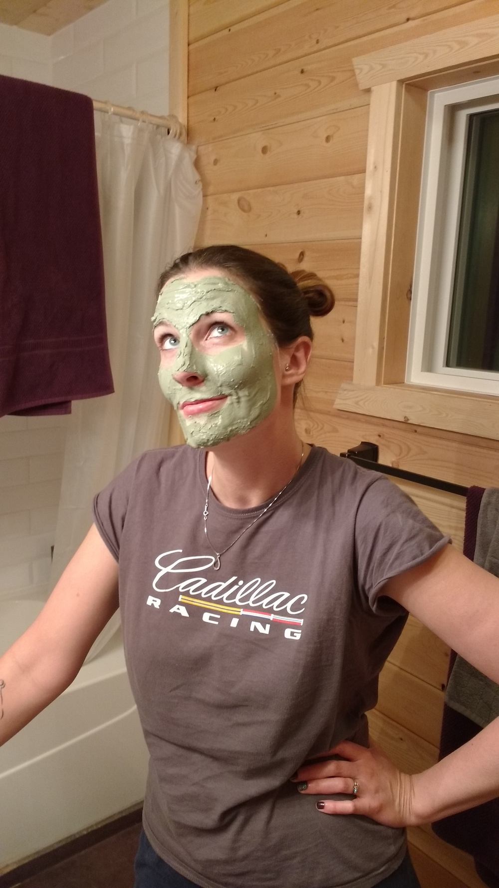 Looking glamorous.  The picture taker didn't want to be in the picture with me because he feels that green clay masks are very manly.