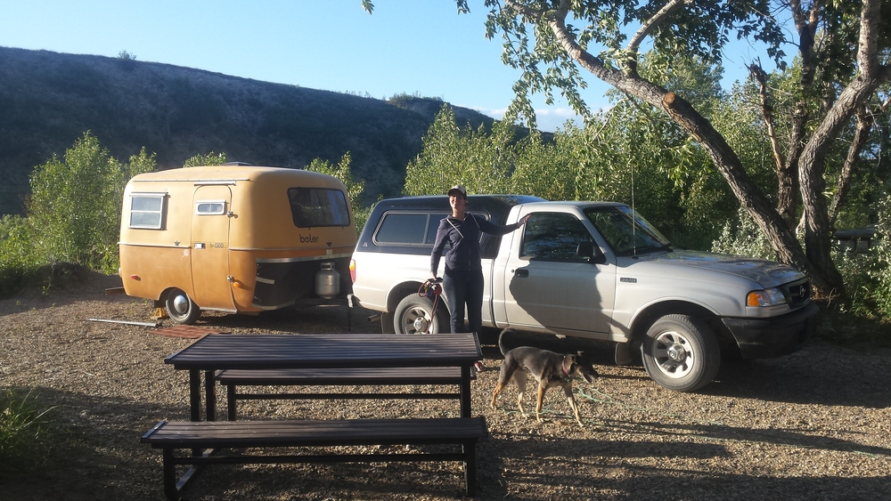 Pictured:  Erin, Sam and Trucky with the Boler.  Not Pictured:  Tucker because he spent 2 days under the camper crying because he had to wear his collar.