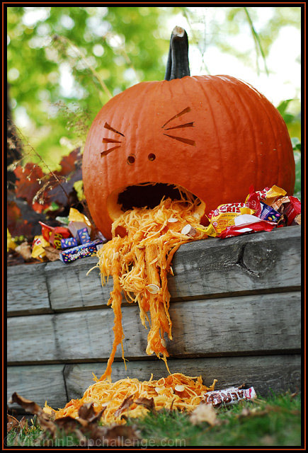 "Google ""too much candy"" as an image search and it's just PAGES of puking pumpkins.  You're welcome for that information."