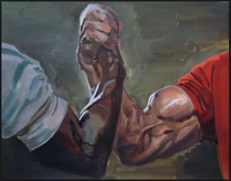 Why yes, that  is  a painting someone's done of the handshake between Carl Weathers and Arnold Schwarzenegger from Predator. Because for as much shit as I'm about to talk about the internet, it's still a wonderful place sometimes.