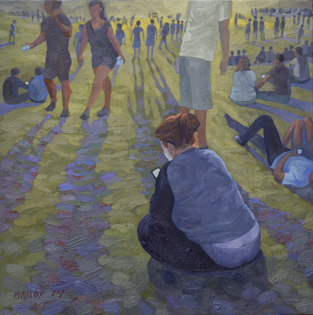 "Phubing at ACL 1.   Oil on canvas. 24"" x 24"". 2014"