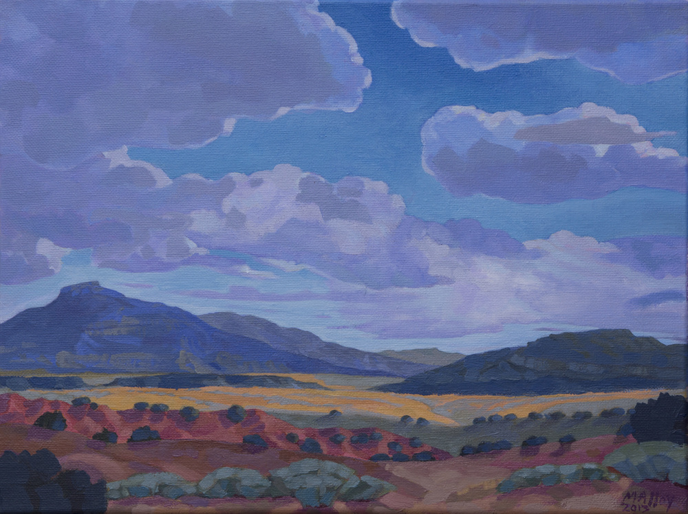 "Ghost Ranch Cerro Pedernal 2. Acrylic on canvas 12""x16"", 2013"