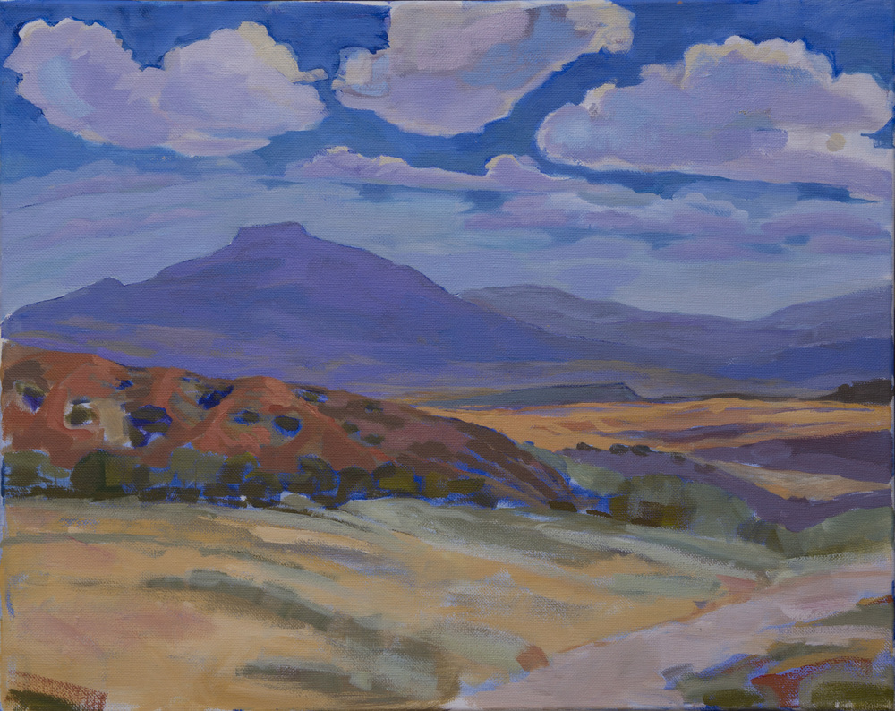 "Ghost Ranch Cerro Pedernal 1. Acrylic on canvas 16""x20"", 2013"