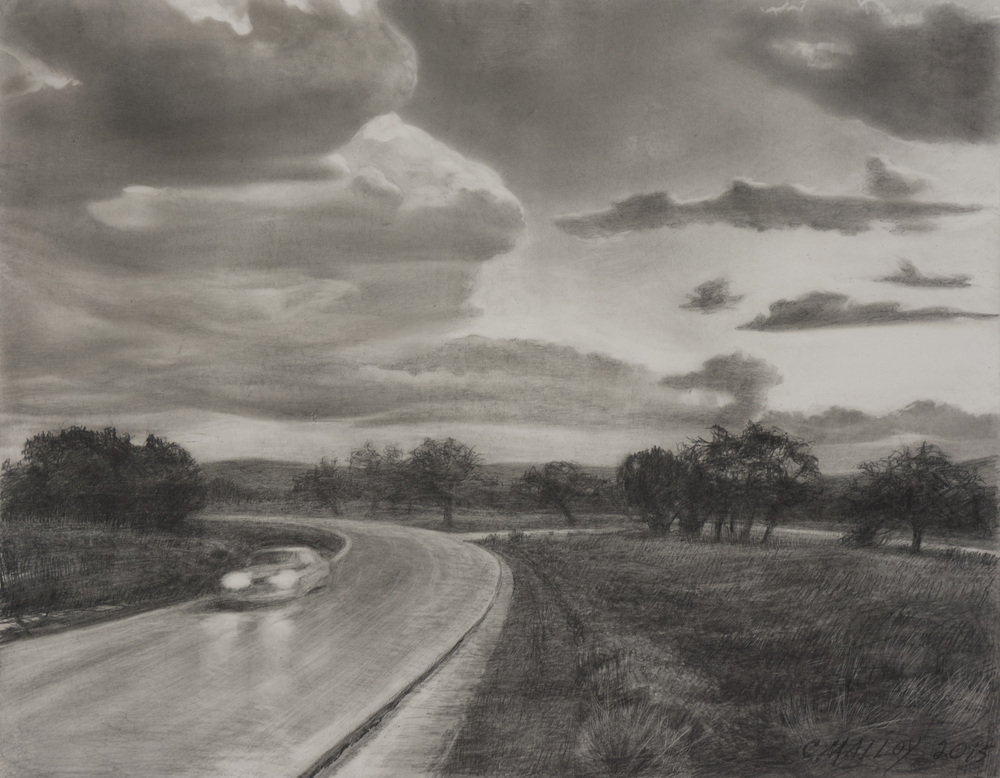 "Mobile Landscape Study 2.   Graphite on claybord 11"" x 14"" 2015"