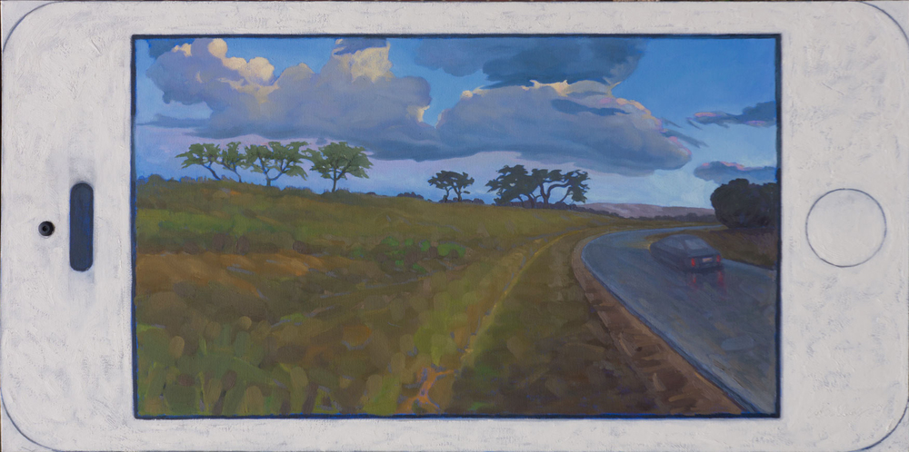 "Mobile Landscape.  Oil on canvas 24"" x 48"". 2015"