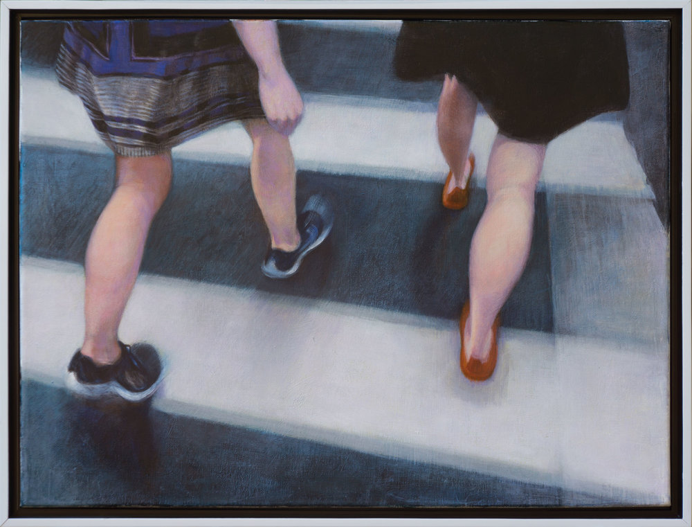 "Crosswalk: Anna and Alice. Acrylic on canvas 18"" x 24"". 2016"