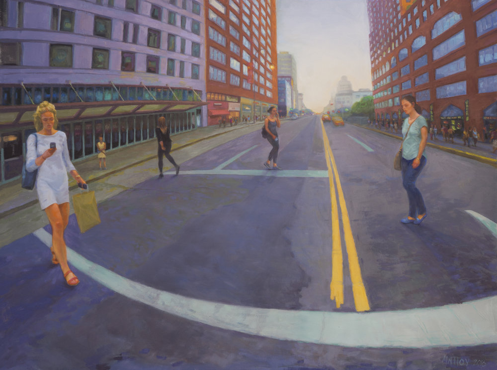 "Crosswalk: 14th St NYC. Oil on canvas 30"" x 40"" 2016"