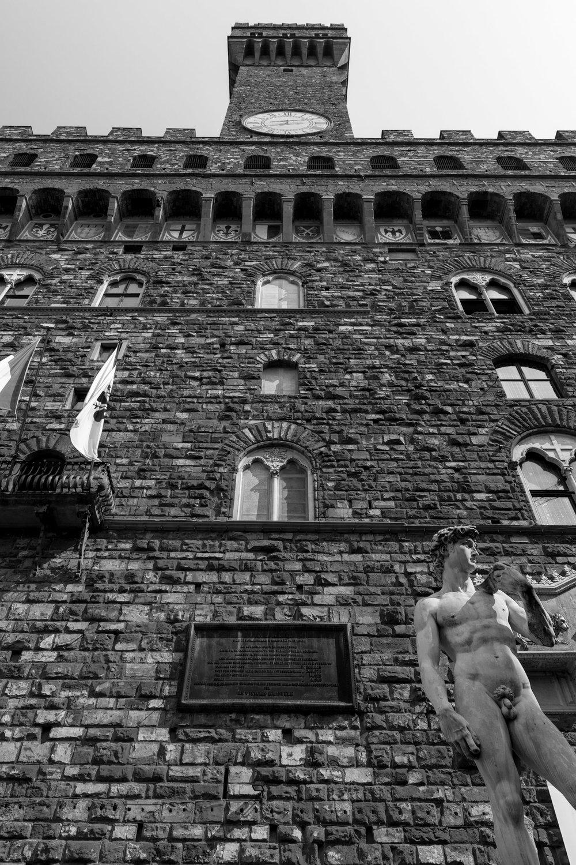 Palazzo Vecchio Façade with a Replica of Michaelangelo's David