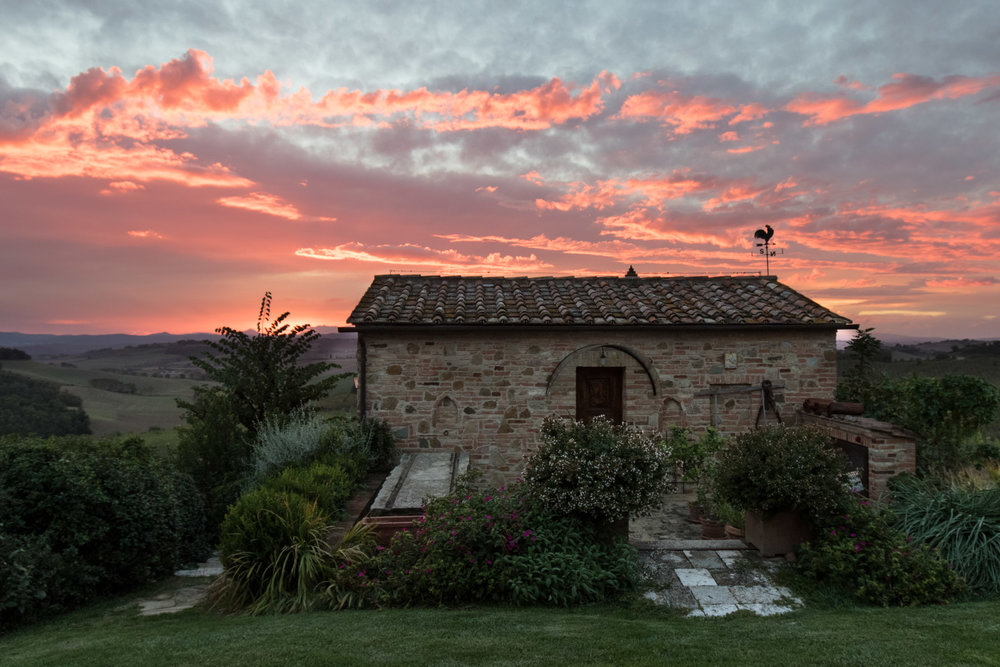 Sunset, Agriturismo Podere Cunina, Tuscany, Italy | Reid Burchell Photography