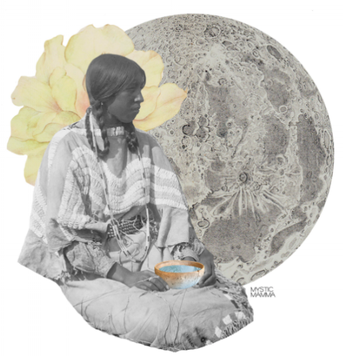 """GROUND"" by MYSTIC MAMMA (collage feat. ""Flint Smoker's Daughter"" by Edward S. Curtis)"