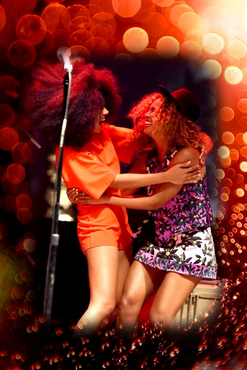 Photo of Solange and Beyonce at Coachella 2014: Getty Images / Photo of bokeh lights by  Yu Wei Lin  / Edit by me