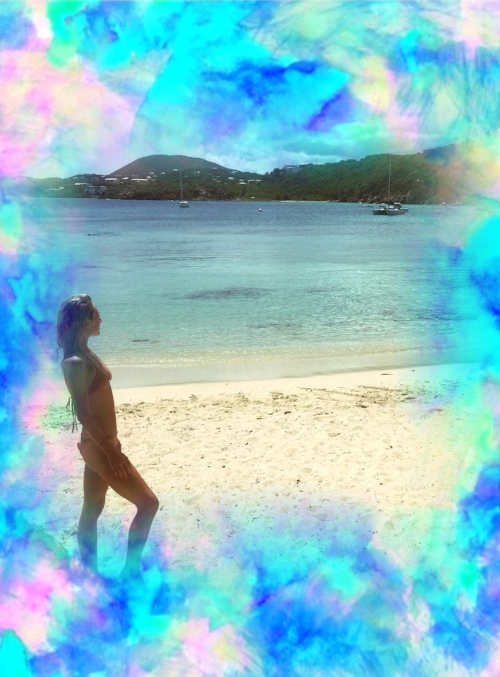 """Background, """"Electrify Blue Ice"""" by Amy Sia / Photograph of me in St. Thomas August 2017 / Edit by me"""