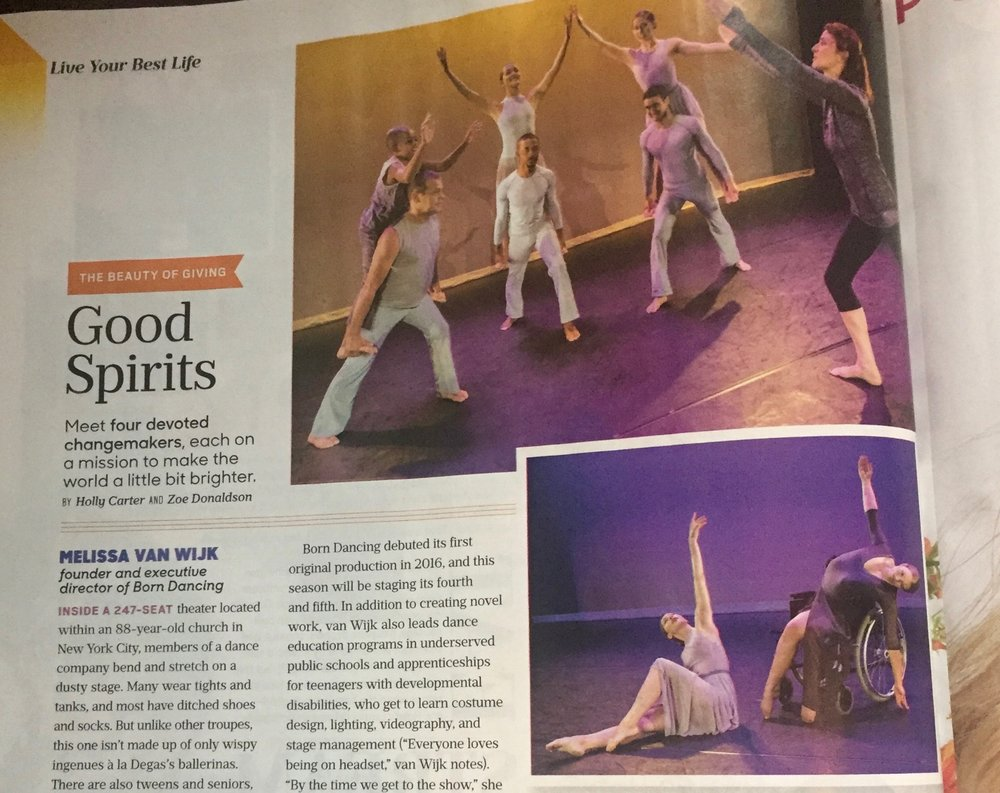 Close up of the article in O-Magazine, titled  Good Spirits.