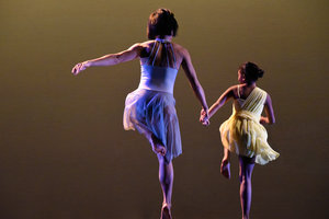Tina Wang and Student-Dancer Emily in Grey at Riverside Theater .