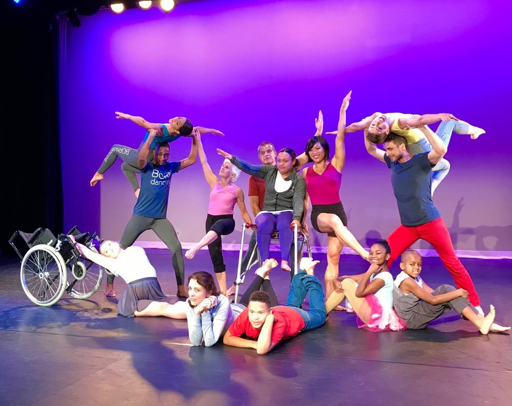 Group shot of nine dancers, Melissa, and three student-dancers and apprentices at the O-Magazine photo shoot.