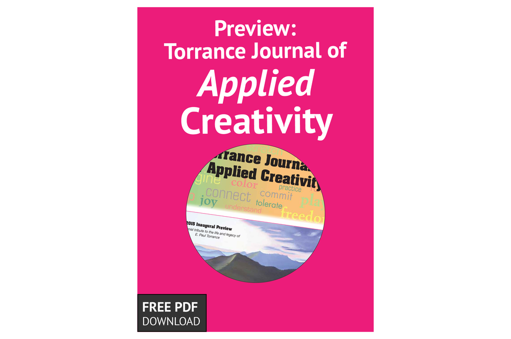 Free Download: Previewing the Torrance Journal of Applied Creativity