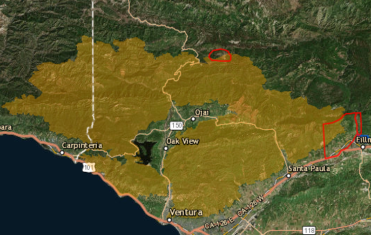 This is the map of the fire as of 12/17/17. The yellow is where the fire burned or is burning. Ojai is that little green crescent in the middle. Source: http://www.readyventuracounty.org