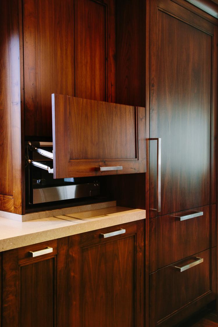 Walnut Microwave Garage Cabinet