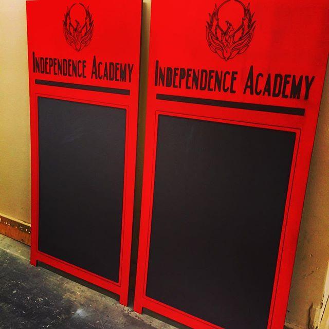 Custom engraved sandwich board with chalkboard insert. #sandwichboard #chalkboard #timelessmillworks #independenceacademycharterschool