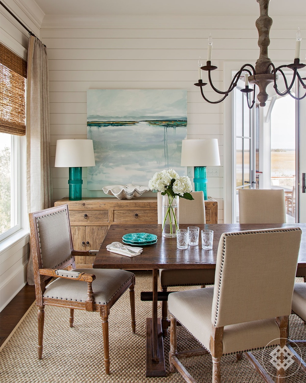 dining room, asian console, custom farm table
