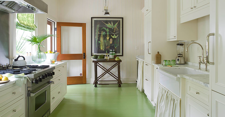 guest cottage kitchen with painted floor in mount pleasant south carolina