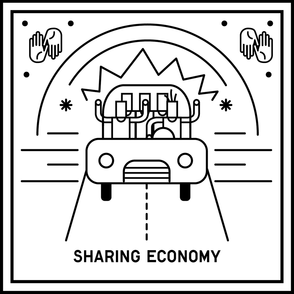 A collaborative economy that is built around the concept of sharing physical or intellectual resources between peers. Burning Man, Task Rabbit, Uber, Lyft, Airbnb