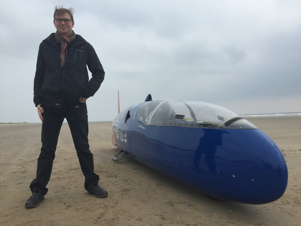Standing Beside The Land Speed Record Bike Designed & Built By Sam Marsden