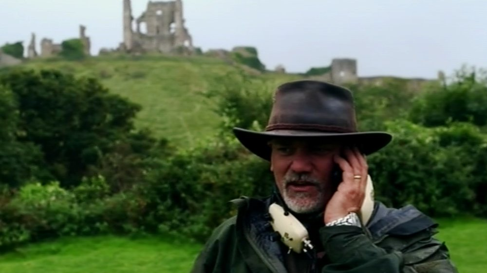 Gary phones for back-up at the hoard site at Corfe Castle