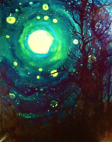 Full moon painting by Cindy Belseth