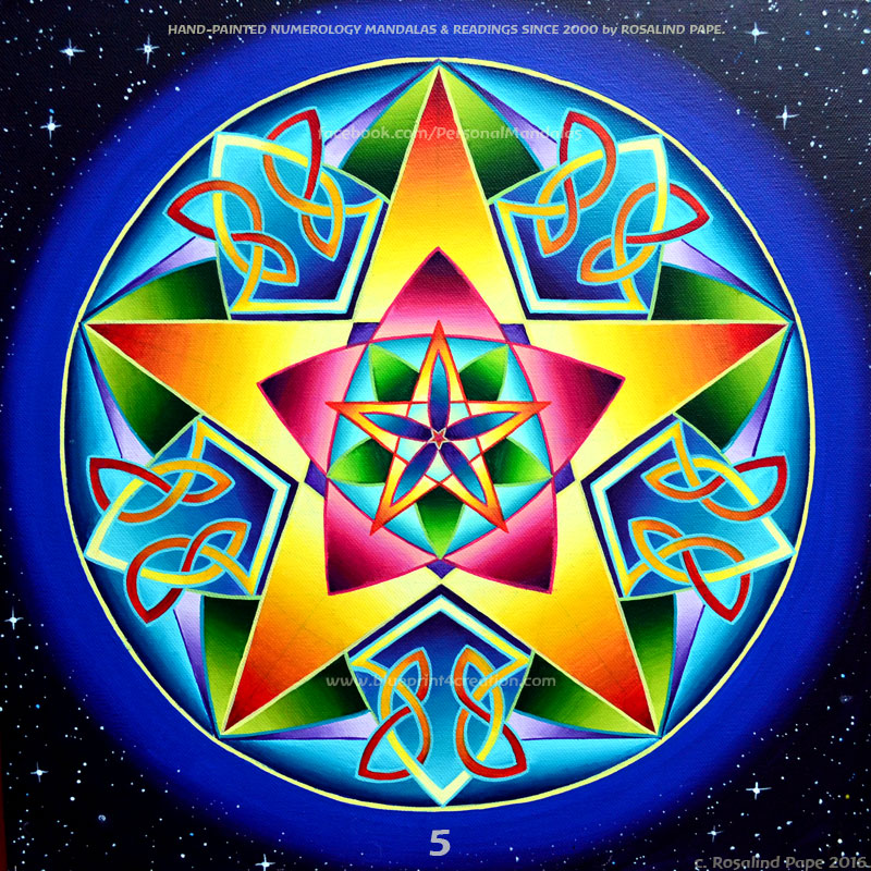 Number 5 Numerology Mandala: Hand-painted by Rosalind Pape.