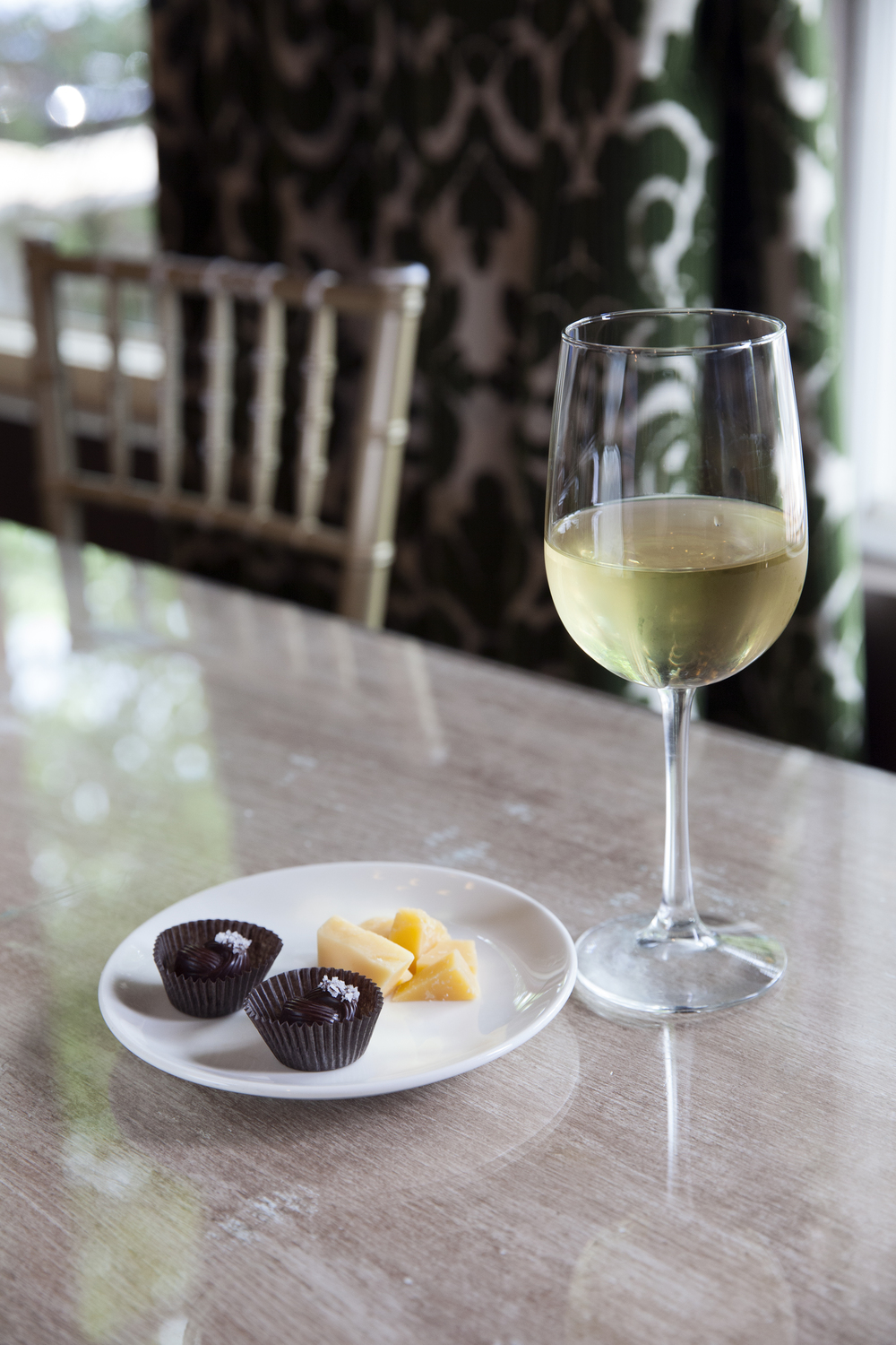 wine paired with cheese and chocolate