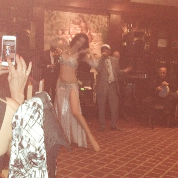 Belly dancer Alisa performing with Khalil Abboud at Tannourine in San Mateo