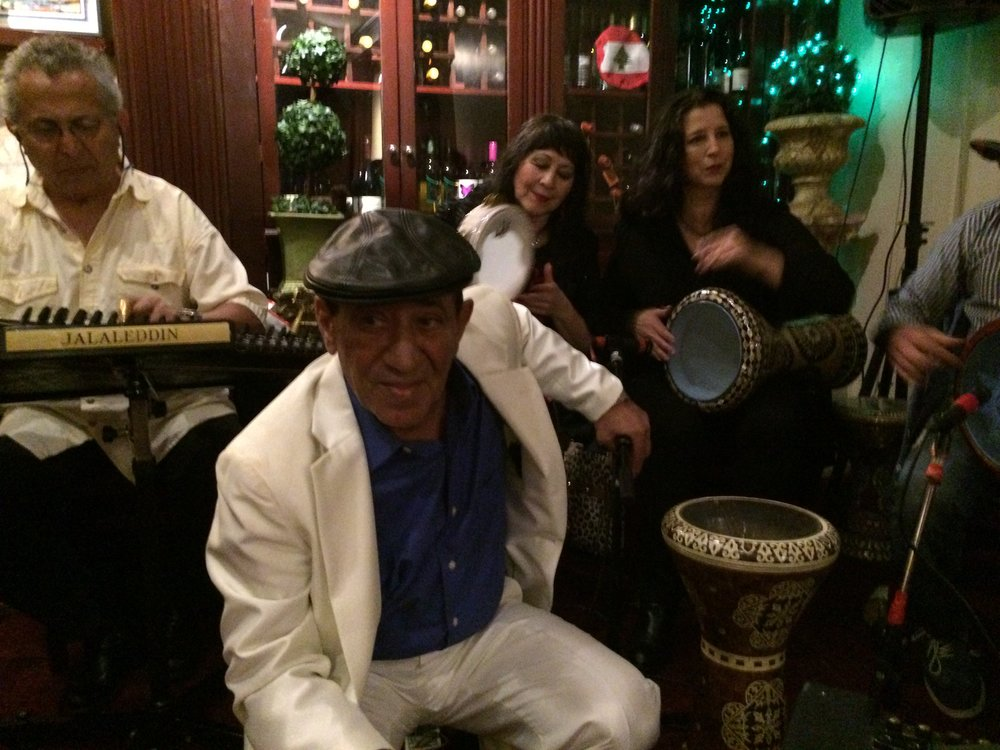Sensational singer Khalil Abboud at Tannourine with some of his band, Jalal, Amina and Susu