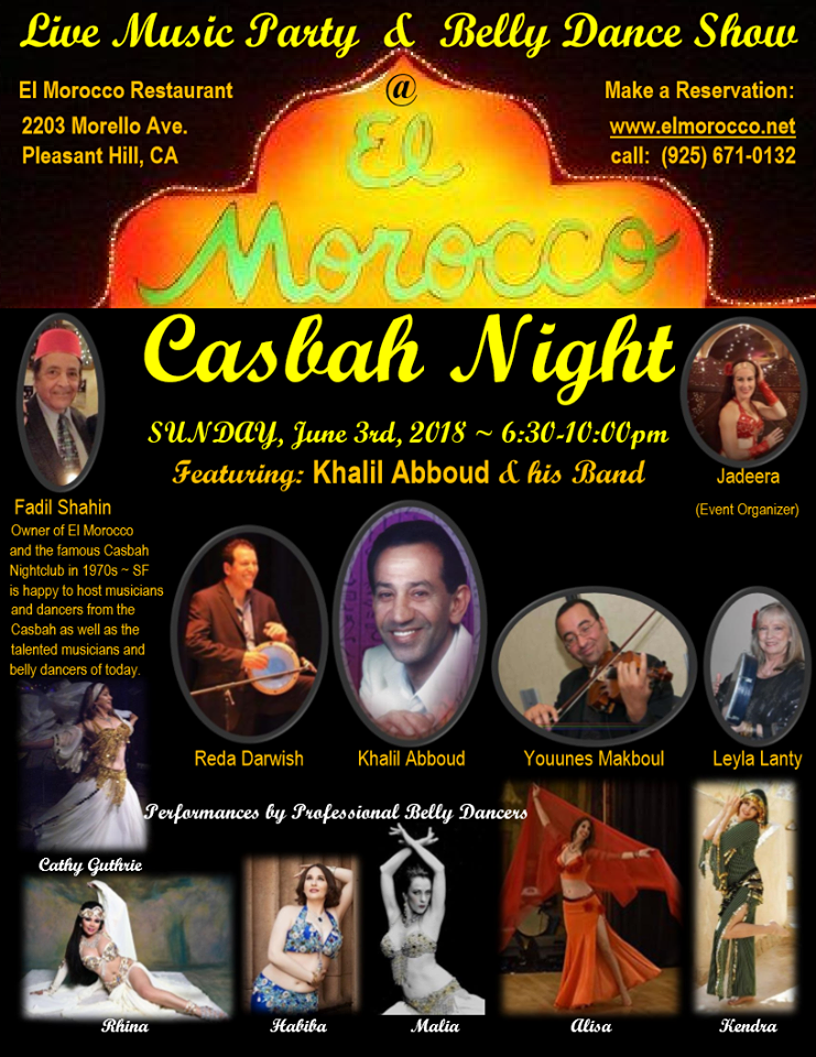 Beautiful Live Music and Belly Dance Show at El Morocco in Pleasant Hill - Sun June 3rd!!