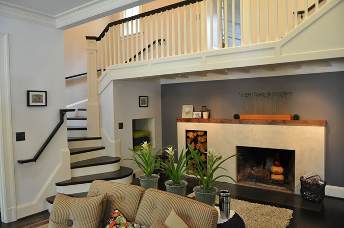 Southwest Portland Remodel Living Room Stairway