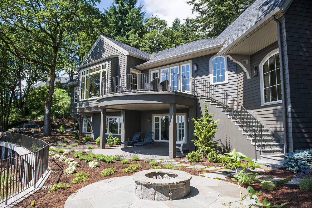 Lake Oswego Custom Home Back Yard