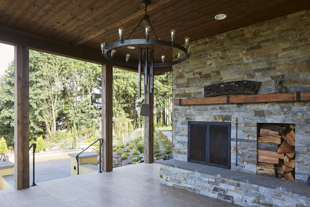 Newberg Custom Home Outdoor Fireplace