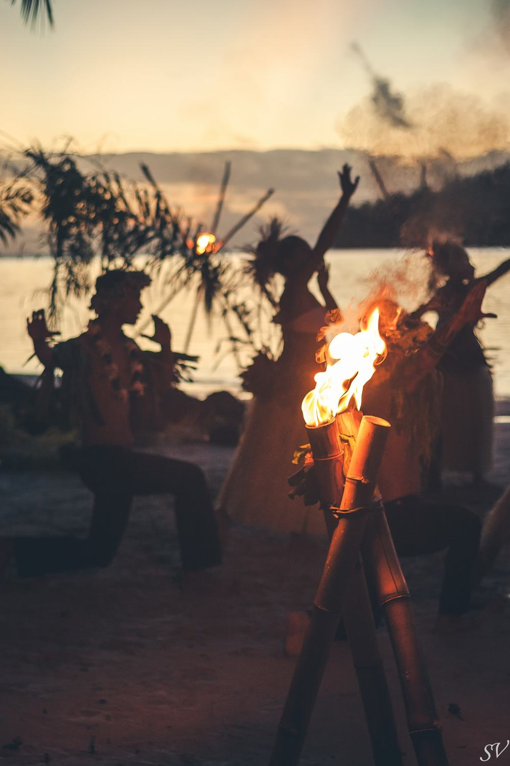 Fire dancing in French Polynesia