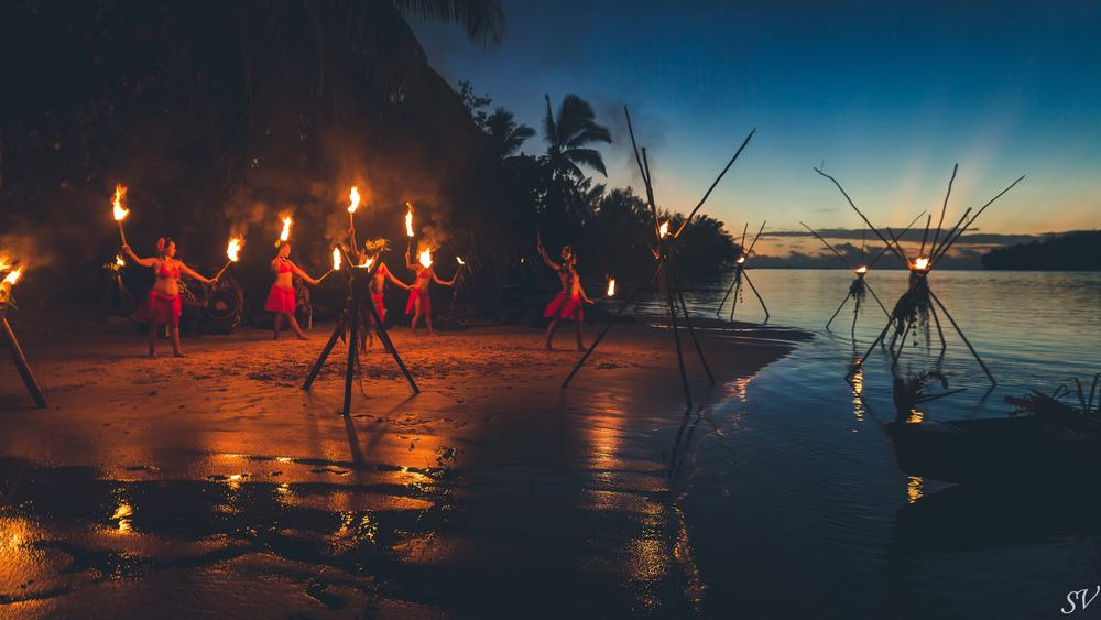 Fire dance on a private beach in Moorea, Tahiti