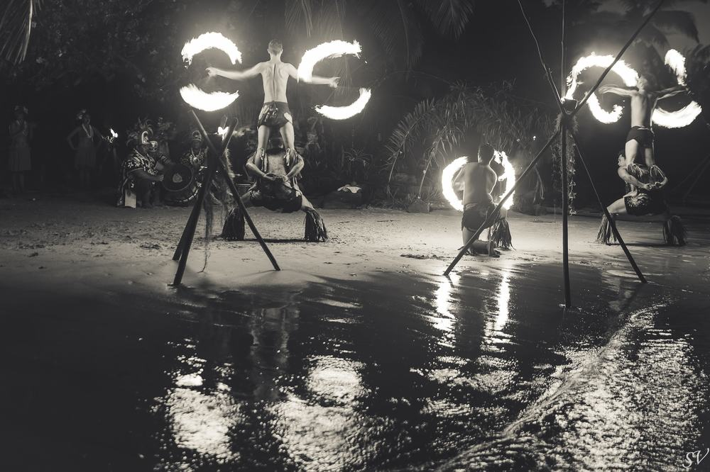 Fire dance near the lagoon