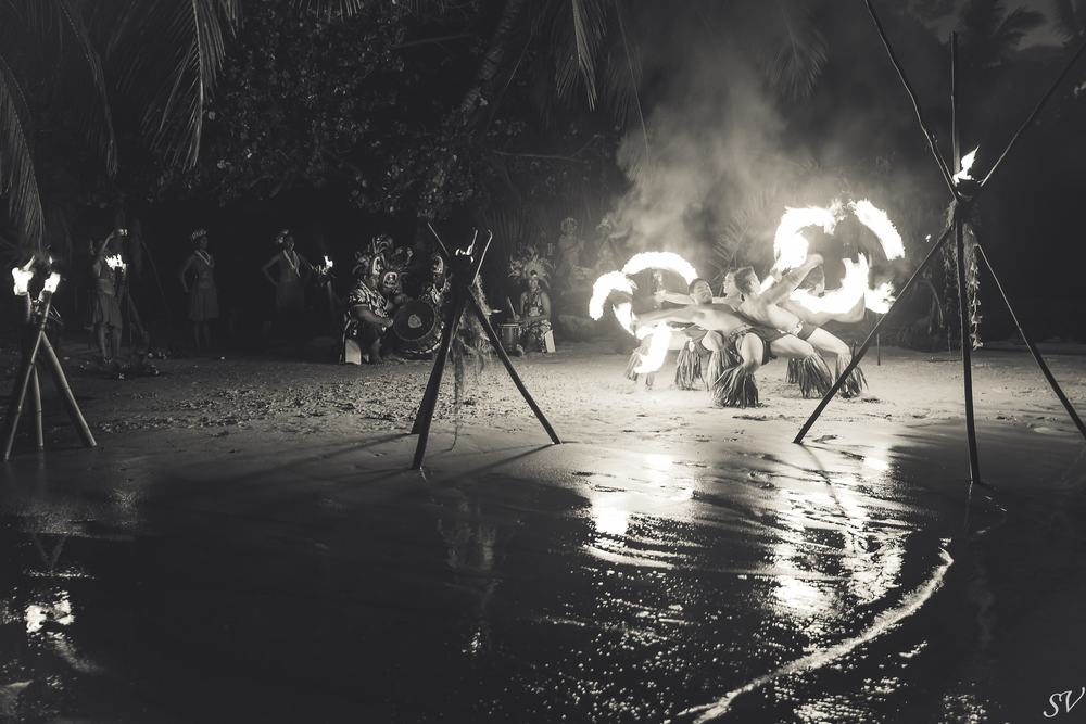 Fire dancing during a destination wedding in Moorea