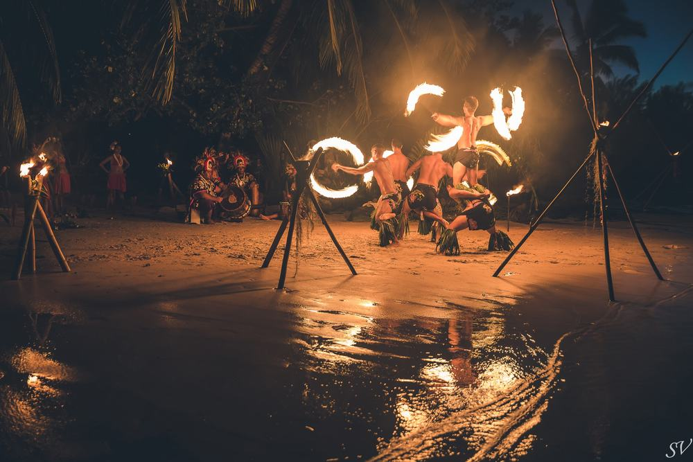 Fire Polynesian dancers during an elopement
