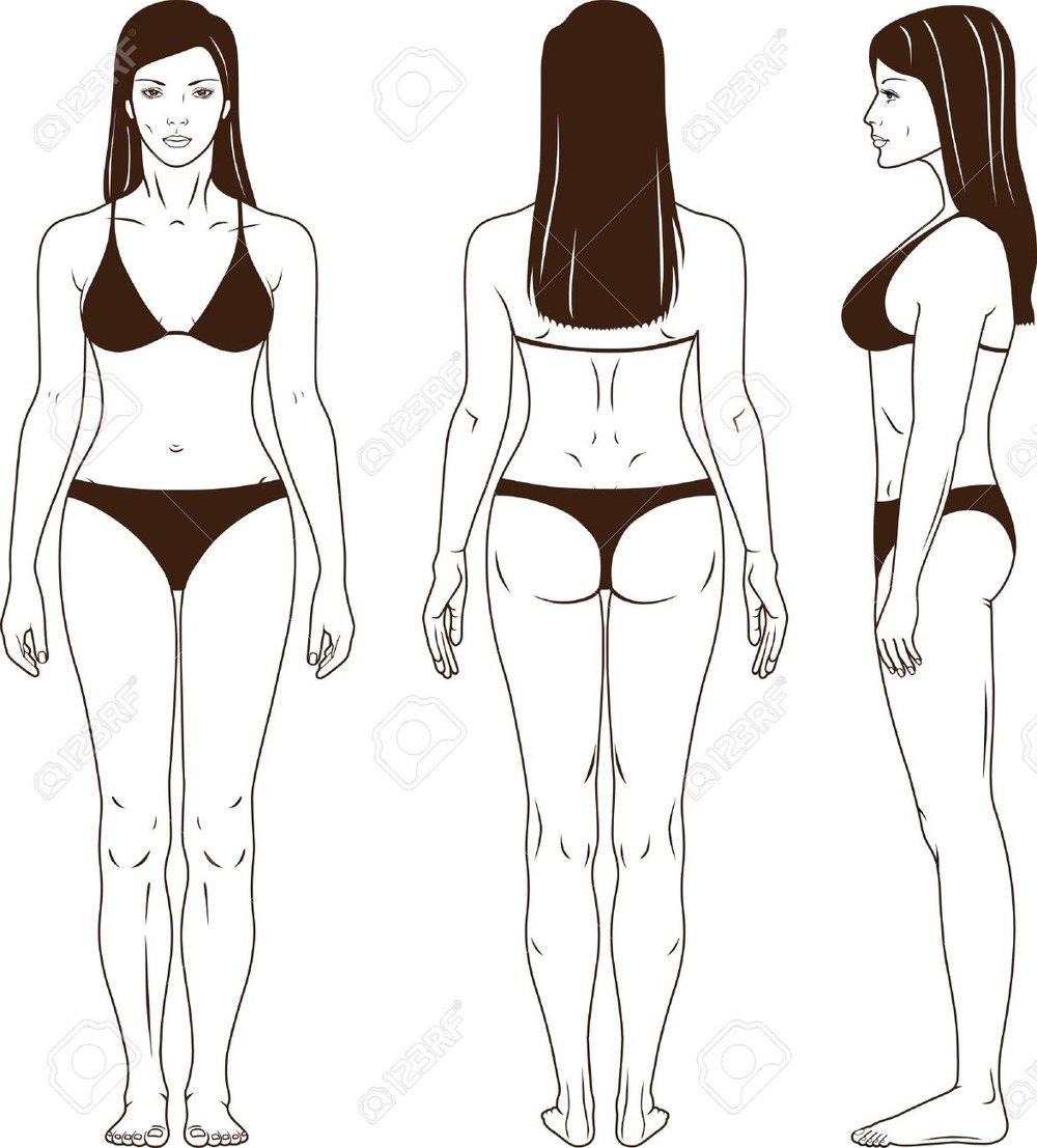 Photo de corps entier bikini, face-profil-dos