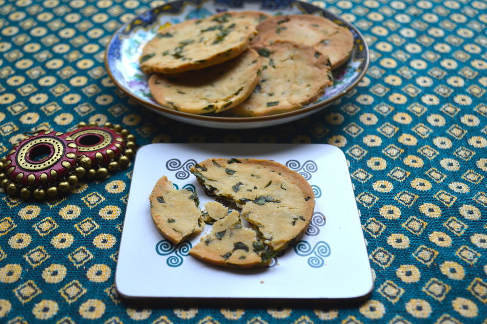 spinach, protein, crackers, healthy, onelifetwoways, south indian, vegan, recipe